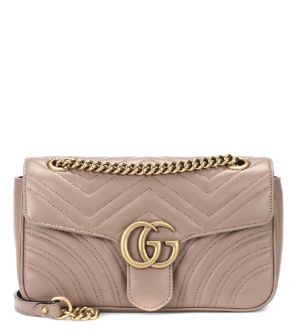 Gucci Gg Marmont Small Matelasse Shoulder Bag In Beige
