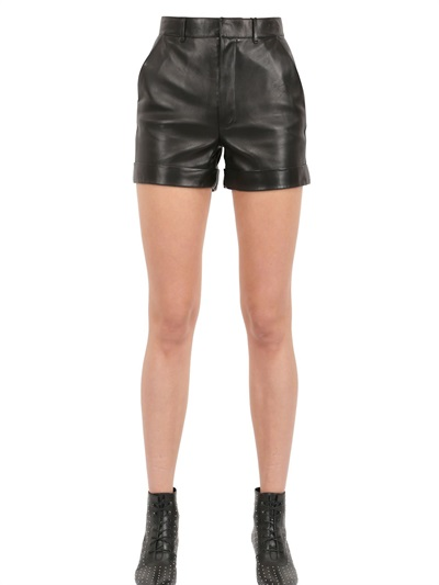 Saint Laurent Pleated Nappa Leather Shorts, Black