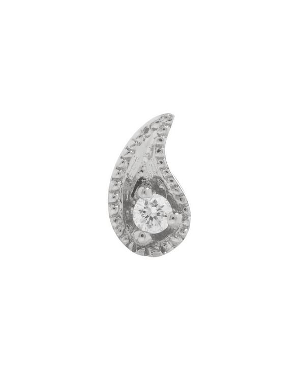 Maria Tash Diamond Paisley Threaded Stud Earring Right In White Gold
