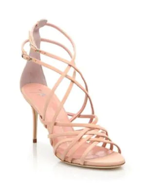Giuseppe Zanotti Suede Caged Strappy High Sandals, Beige In Shell