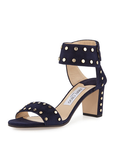 Jimmy Choo Veto 65 Navy Suede Sandals With Gold Studs