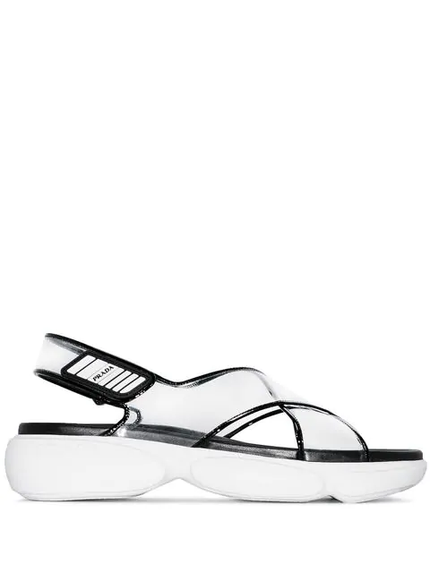 Prada Logo-Embossed Rubber-Trimmed Leather And Pvc Sandals In Neutrals