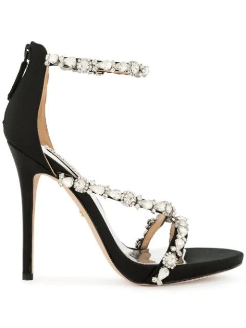 Badgley Mischka Women's Quest Embellished Satin High-Heel Sandals In Black