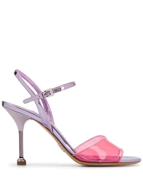 Prada 90Mm Plexi & Metallic Leather Sandals In Pink