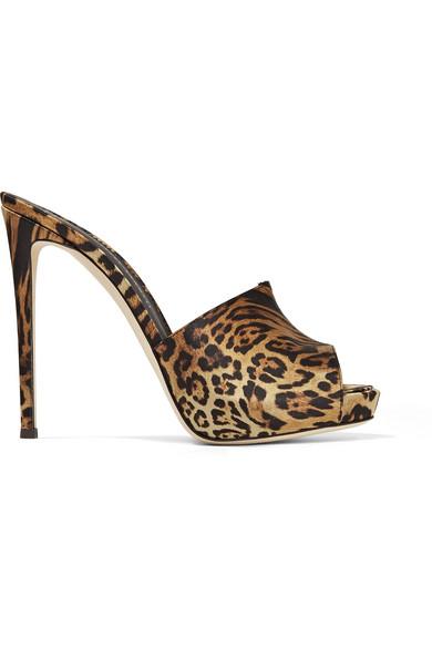 f36d331fbf5 Giuseppe Zanotti Satin Cheetah Platform Slide Sandals In Leopard Print