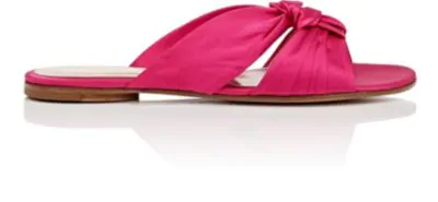 Gianvito Rossi Satin Bow Knot Slide Sandals In Fuxia