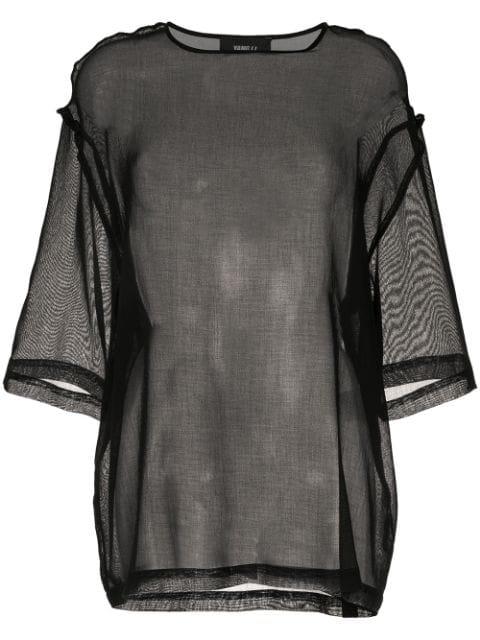 Yang Li Sheer Panel Blouse In Black