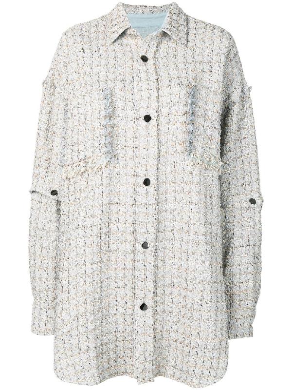 391bdd29b0 Faith Connexion Oversized Tweed Shirt - Neutrals | ModeSens