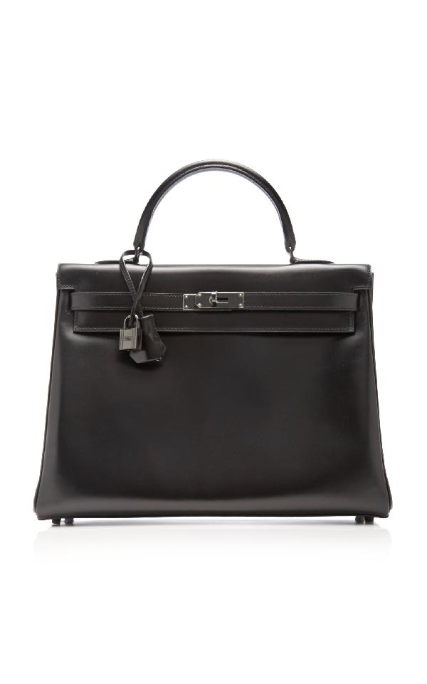 "HermÈS Vintage By Heritage Auctions HermÈS 35Cm So Black Calf Box Leather Limited Edition ""So Black"" Retourne Kelly"