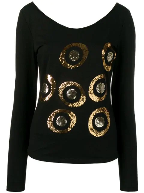 Versace Embroidered Blouse In Black