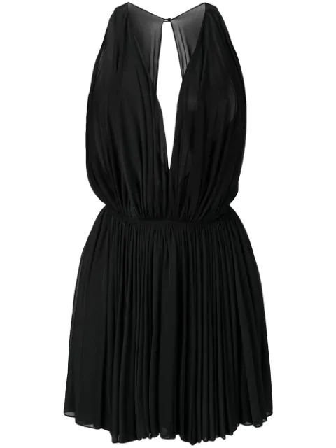Alaïa 1990's Sheer Pleated Mini Dress In Black