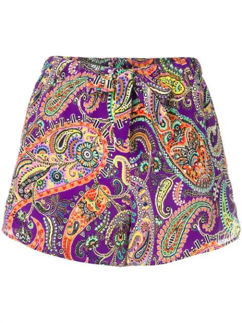 Etro Paisley Printed Shorts - Purple