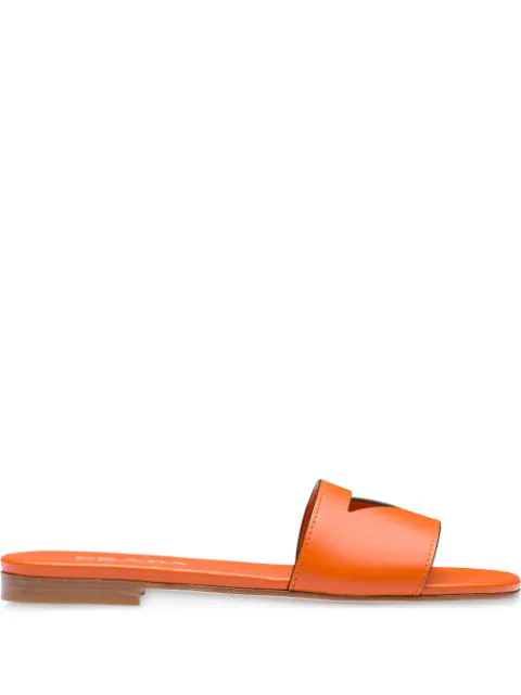Prada Cut-Out Flat Slides In Orange