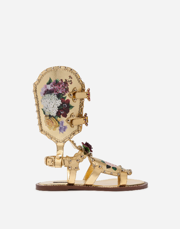 Dolce & Gabbana Gladiator Sandals With Floral Painting And Studs In Gold