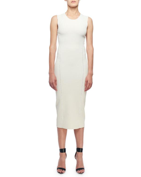 Victoria Beckham Sleeveless Open-Knit Midi Dress In Cream