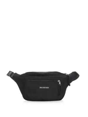 Balenciaga Explorer Logo-Embroidered Canvas Belt Bag In Black