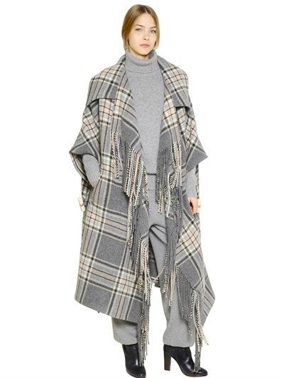 ChloÉ Check Plaid Fringe Blanket Cape Coat In Grey