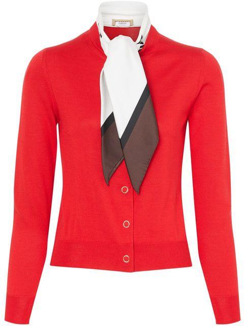 Burberry Cashmere Logo-Print Silk Scarfed Cardigan, Red