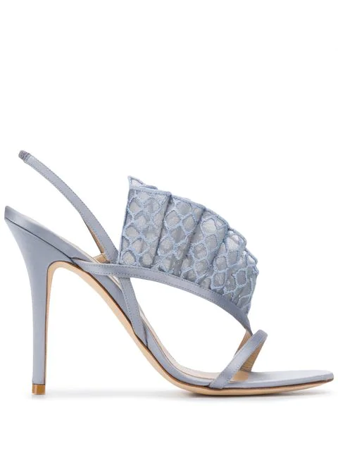 Andrea Mondin Ally Embroidered Fishnet Sandals In Blue
