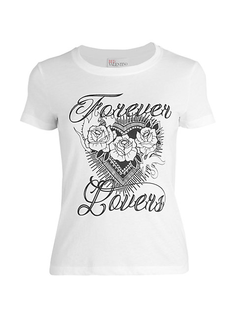 Red Valentino Forever Lovers Graphic T-shirt In White