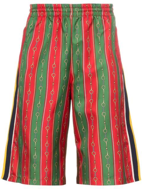 Gucci Horsebit Chain Print Shorts In 3010 Multi