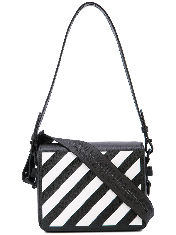 66d3c4361 Off-White Diagonal Stripe Flap Leather Shoulder Bag In Black | ModeSens