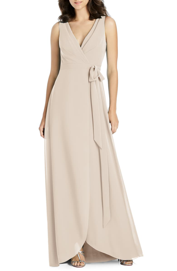 Jenny Packham Chiffon Wrap Gown In Cameo