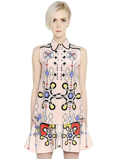 Peter Pilotto Printed Silk Georgette Shirt In Pink