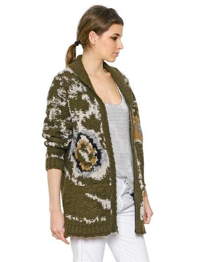 Isabel Marant Wool Blend Cardigan In Brown