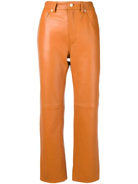 Acne Studios Leather Pants In Brown
