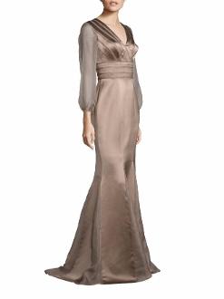 Kay Unger New York Sheer Sleeve Satin Mermaid Gown In Latte