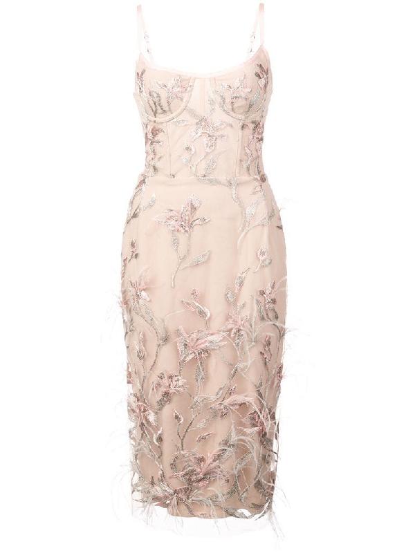1761e73e424 Marchesa Notte Ostrich Feather Trim Embroidered Corset Dress In Pink ...