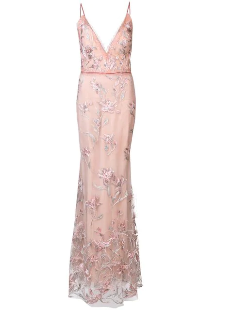 Marchesa Notte Feather Embroidered Sleeveless Gown In Blush