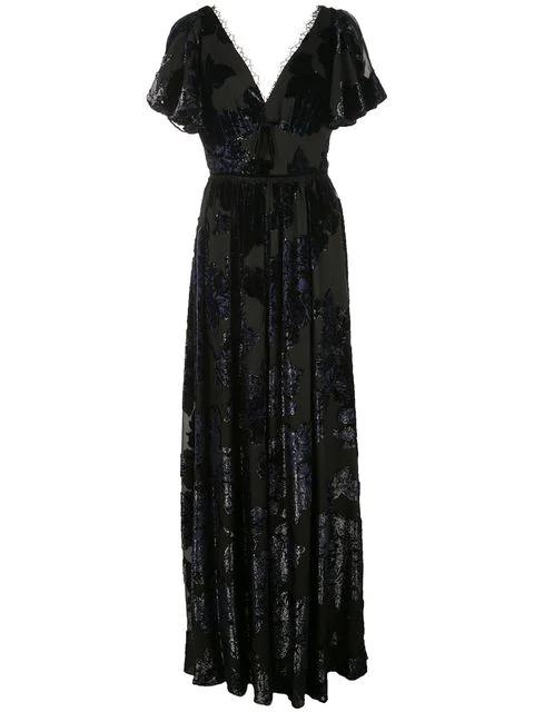 Marchesa Notte Florales Abendkleid Mit V-Ausschnitt In Black