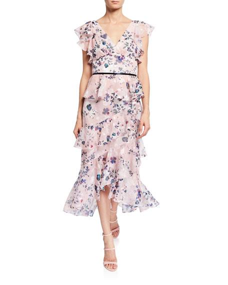 9701e891 Marchesa Notte Floral-Print Burnout Chiffon V-Neck Flutter-Sleeve Ruffle  Dress In