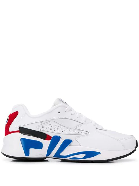 Fila Mindblower Faux Leather Sneakers In White