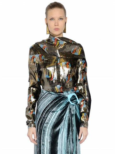J.W.Anderson Printed Silk Lurex Shirt With Scarf In Multicolor