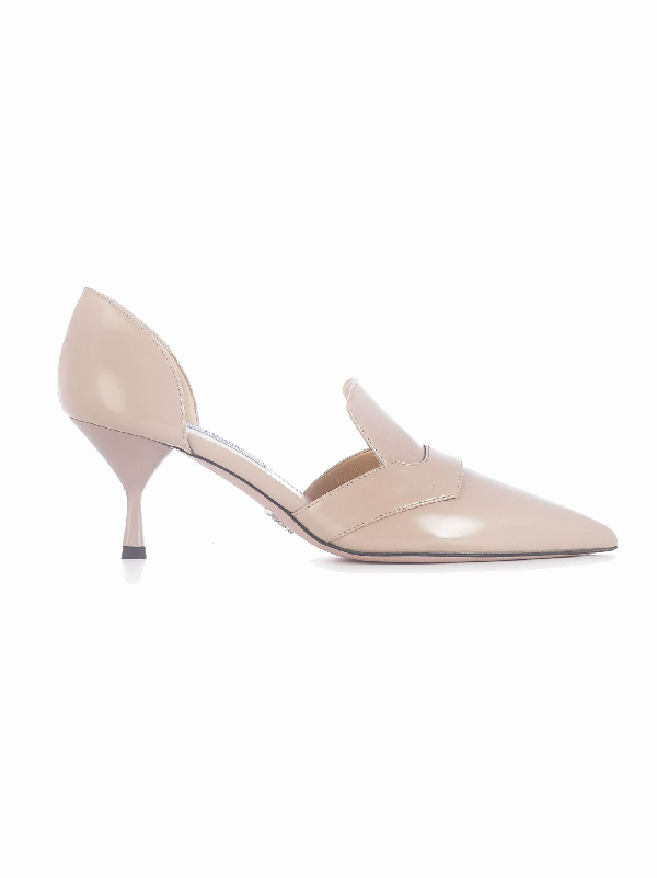 Prada Pointed Toe Pumps In Powder