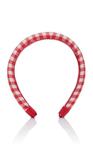 Epona Valley Gingham Cotton Headband In Red