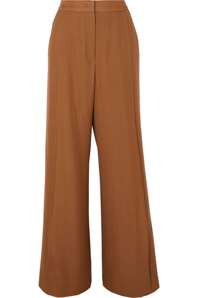 Agnona Wool And Cashmere-blend Straight-leg Pants In Brown