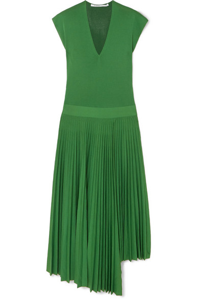 Agnona Asymmetric Pleated Silk And Cotton-Blend Dress In Green