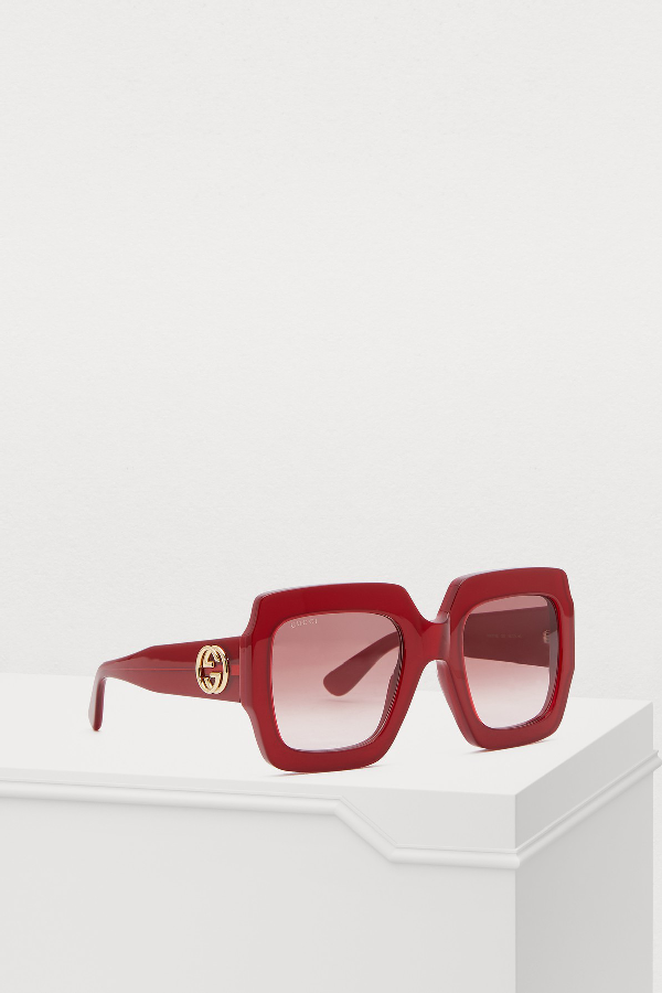 5d8b08784 Gucci Oversized Square Web Gg Sunglasses In Red | ModeSens