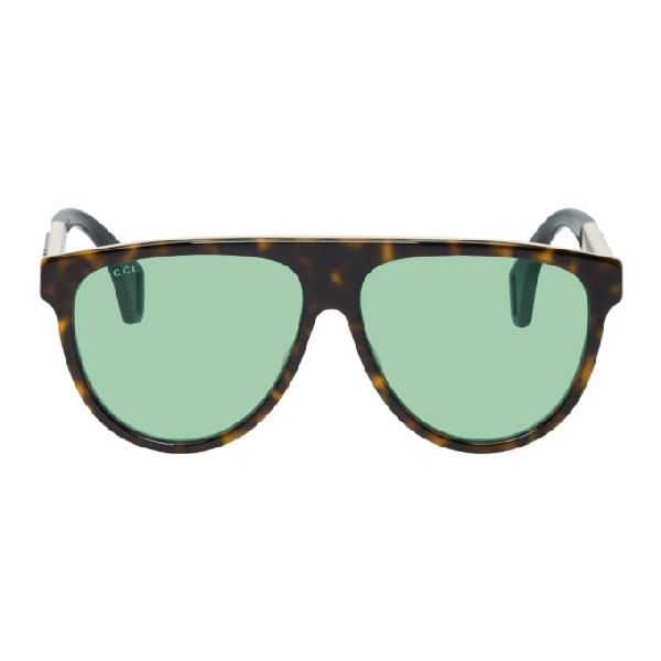 568b434db5d4 Gucci Tortoiseshell Oversized Pilot Sunglasses In 212 Hvngree   ModeSens