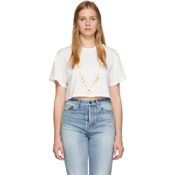Alanui Floral Necklace T-shirt In White Multi