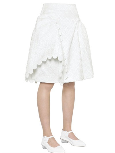 Simone Rocha Quilted Cotton Brocade Skirt In White