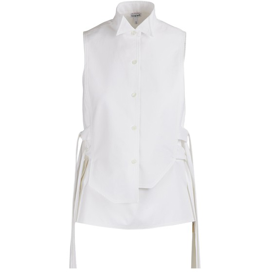 Loewe Bib Sleeveless Shirt In White