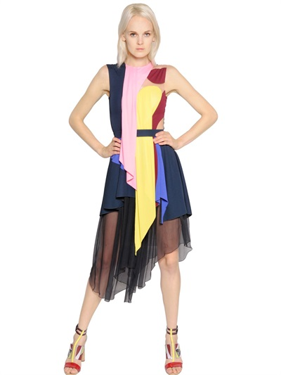 Peter Pilotto Asymmetrical Jersey & Chiffon Dress In Multicolor