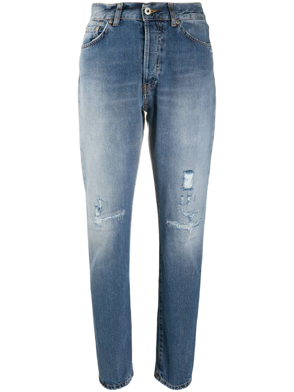 Dondup Distressed Cotton Denim Jeans In Blue