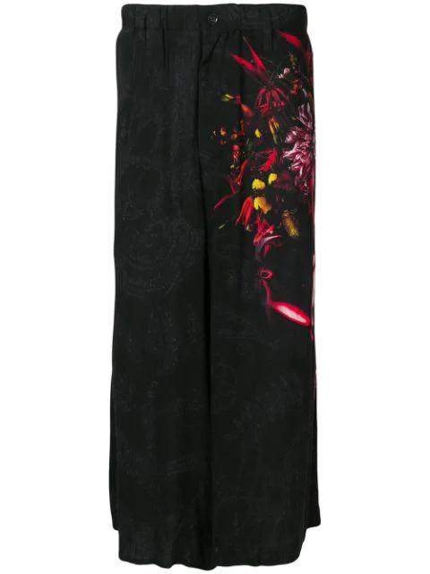 Yohji Yamamoto Graphic Print Flared Trousers In Black