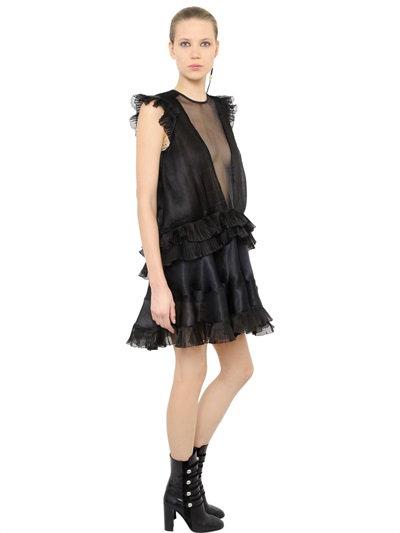 Isabel Marant Ruffled & Pleated Organza Dress In Black